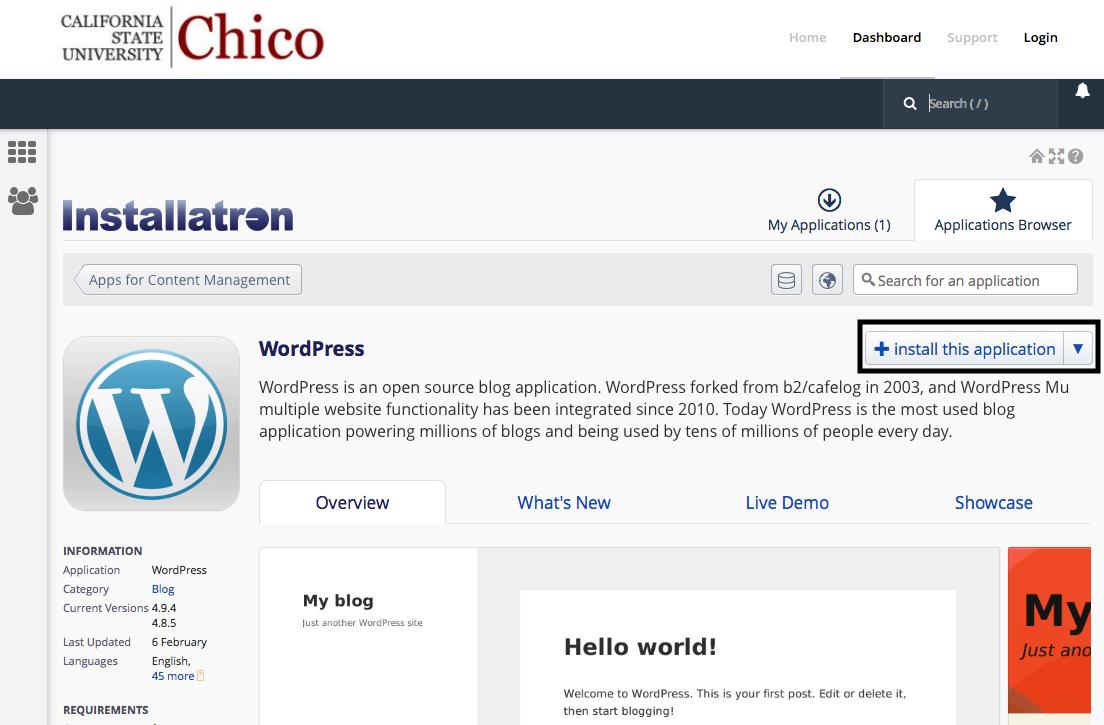 Installing WordPress using Installatron