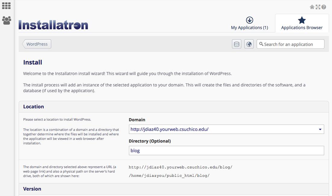 setting up WordPress in the Installatron