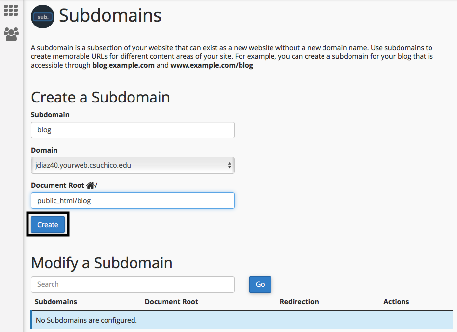 creating subdomain with focus on the Document Root configutation