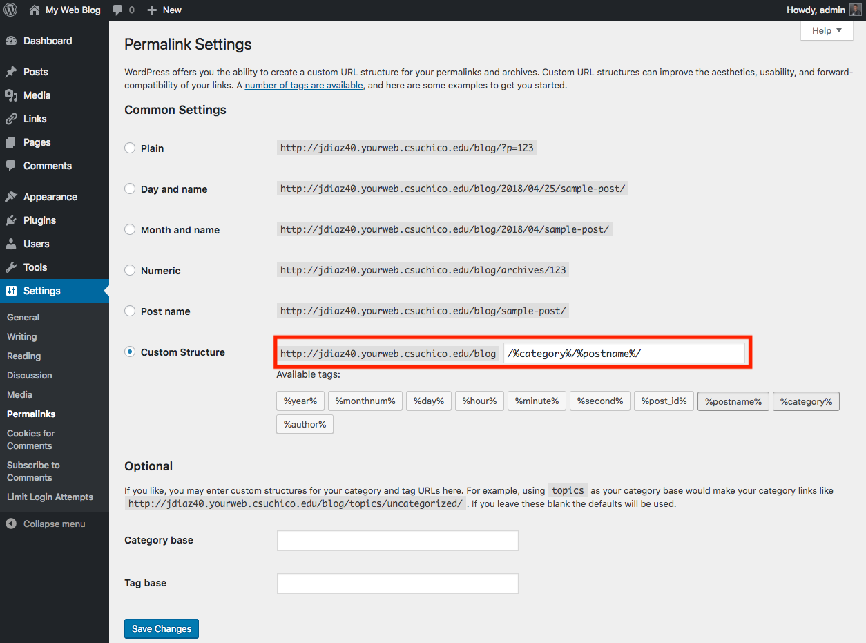 premalink settings with the custom fields highlighted