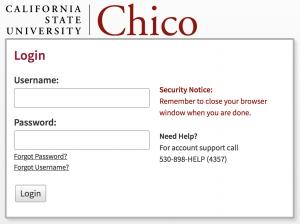 Chico State login page screenshot