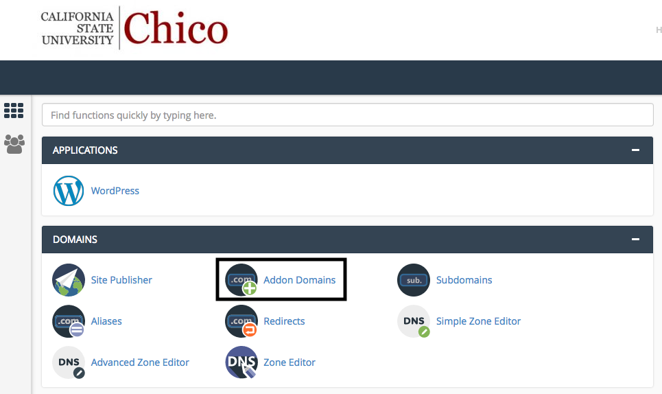 """Cpanel with focus on """"Addon Domain"""""""